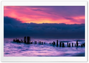 Old Wooden Pier, Morning, Sunrise, Pink Sky, Lake Ultra HD Wallpaper for 4K UHD Widescreen desktop, tablet & smartphone
