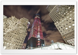 One World Trade Center In Red, Night HD Wide Wallpaper for Widescreen