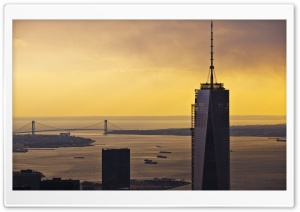 One World Trade Center, Sunset, New York City HD Wide Wallpaper for 4K UHD Widescreen desktop & smartphone