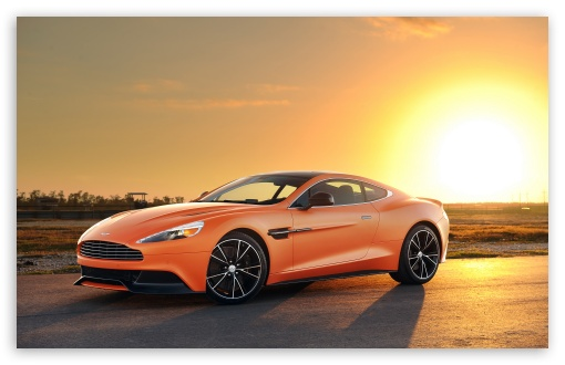 Download Orange Aston Martin Vanquish Car HD Wallpaper