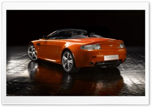 Orange Aston Martin Vantage V8 Car HD Wide Wallpaper for Widescreen