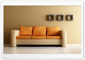 Orange Couch HD Wide Wallpaper for Widescreen