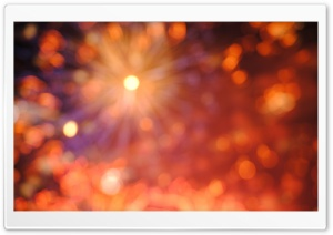 Orange Fireworks Bokeh HD Wide Wallpaper for Widescreen