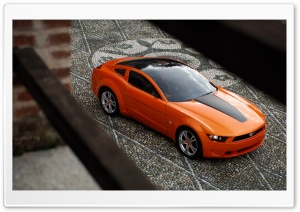 Orange Ford Mustang 1 HD Wide Wallpaper for Widescreen
