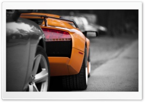 Orange Lamborghini Rear HD Wide Wallpaper for Widescreen