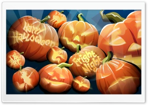 Orange Pumpkins Happy Halloween Night HD Wide Wallpaper for Widescreen