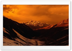 Orange Sky Mountain Landscape HD Wide Wallpaper for Widescreen