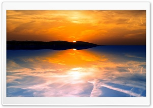 Orange Sky Reflected in a Calm Sea HD Wide Wallpaper for Widescreen