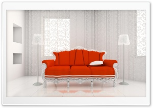 Orange Sofa HD Wide Wallpaper for Widescreen