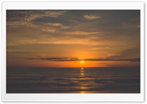 Orange Sunrise Beach HD Wide Wallpaper for Widescreen