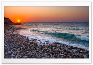 Orange Sunset Light And Blue Wave HD Wide Wallpaper for Widescreen