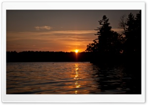 Orange Sunset on Cobbosseecontee Lake   Monmouth, Maine HD Wide Wallpaper for Widescreen