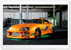 Orange Toyota Supra Neon HD Wide Wallpaper for Widescreen