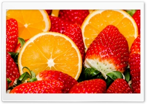 Oranges And Strawberries HD Wide Wallpaper for Widescreen