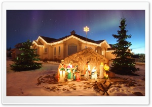 Outdoor Christmas Nativity Scene HD Wide Wallpaper for Widescreen