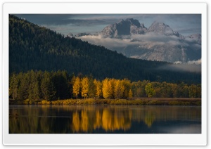 Oxbow Bend, Tetons Mountains, Autumn HD Wide Wallpaper for Widescreen