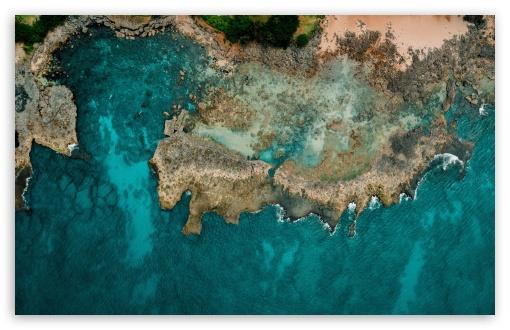 Download Pacific Ocean Shore Aerial View UltraHD Wallpaper