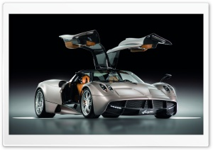 Pagani Huayra Gunmetal Front Side View HD Wide Wallpaper for Widescreen