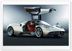 Pagani Huayra Silver Right Side View HD Wide Wallpaper for Widescreen