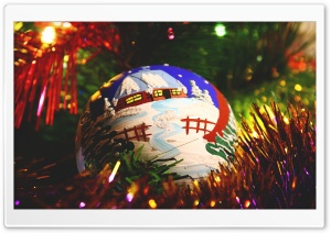 Painted Christmas Ball HD Wide Wallpaper for Widescreen