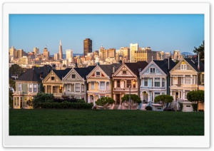 Painted Ladies near Alamo Square, San Francisco, California HD Wide Wallpaper for Widescreen