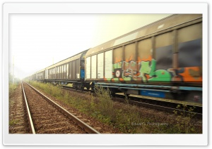 Painted Train HD Wide Wallpaper for Widescreen