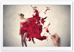 Painting The Woman In Red HD Wide Wallpaper for Widescreen