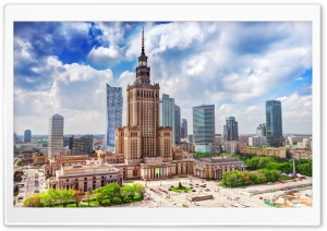 Palace of Culture and Science, Warsaw, Poland HD Wide Wallpaper for Widescreen
