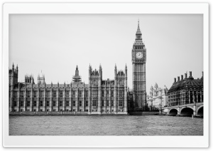 Palace Of Westminster Black And White HD Wide Wallpaper for 4K UHD Widescreen desktop & smartphone