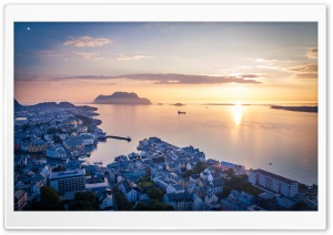 Panoramic view, Alesund town, Norway HD Wide Wallpaper for Widescreen