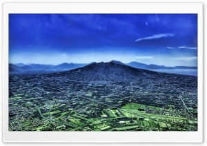 Panoramic View Of City Near A Volcano HD Wide Wallpaper for 4K UHD Widescreen desktop & smartphone