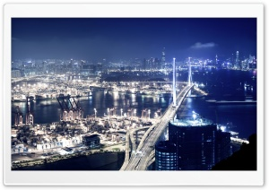 Panoramic View Of Hong Kong At Night HD Wide Wallpaper for Widescreen