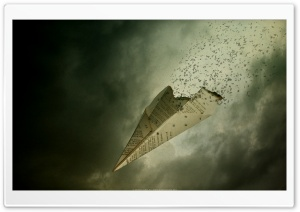 Paper Airplane On Fire HD Wide Wallpaper for Widescreen