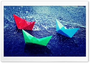 Paper Boats In Rain HD Wide Wallpaper for Widescreen