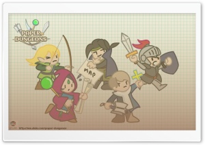 Paper Dungeons Heroes Group HD Wide Wallpaper for Widescreen