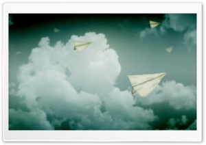 Paper Planes Flying In The Sky HD Wide Wallpaper for 4K UHD Widescreen desktop & smartphone