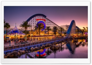 Paradise Pier at Dusk HD Wide Wallpaper for Widescreen