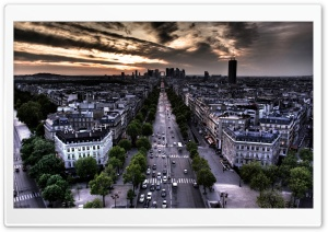 Paris Aerial View From Triumphal Arch In Louvre Direction HD Wide Wallpaper for 4K UHD Widescreen desktop & smartphone
