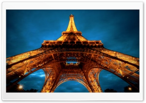 Paris At Night   Eiffel Tower View From Below HD Wide Wallpaper for Widescreen