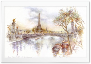 Paris Drawing HD Wide Wallpaper for Widescreen
