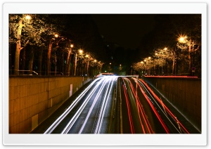 Paris Night Traffic HD Wide Wallpaper for Widescreen