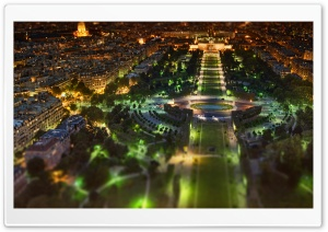 Paris Panorama At Night Tilt Shift HD Wide Wallpaper for 4K UHD Widescreen desktop & smartphone