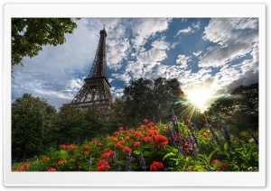 Park View Of Eiffel Tower HD Wide Wallpaper for Widescreen