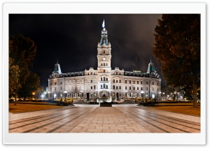 Parliament Building Quebec City Night Shot HD Wide Wallpaper for Widescreen