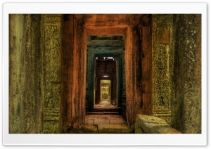 Passageway Inside Temple, Cambodia HD Wide Wallpaper for 4K UHD Widescreen desktop & smartphone