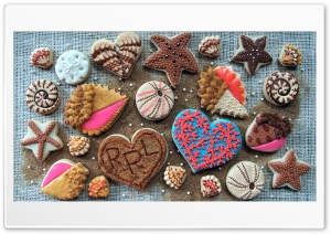 Pastry Cookies Design Heart Ultra HD Wallpaper for 4K UHD Widescreen desktop, tablet & smartphone