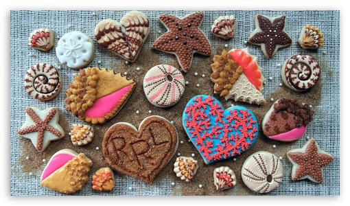 Pastry Cookies Design Heart UltraHD Wallpaper for 8K UHD TV 16:9 Ultra High Definition 2160p 1440p 1080p 900p 720p ; Mobile 16:9 - 2160p 1440p 1080p 900p 720p ;