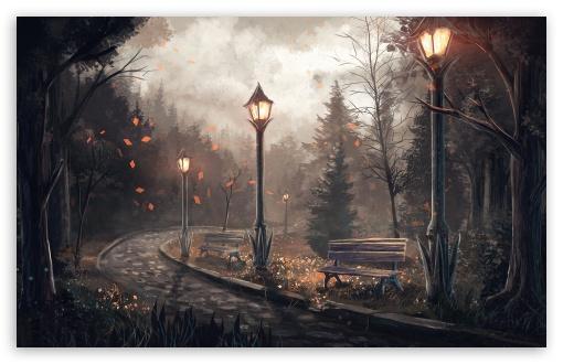 Path Park Autumn Drawing Ultra Hd Desktop Background Wallpaper For 4k Uhd Tv Tablet Smartphone