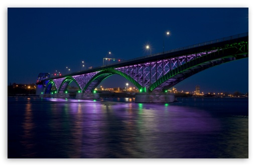 Peace Bridge At Night HD wallpaper for Wide 16:10 5:3 Widescreen WHXGA WQXGA WUXGA WXGA WGA ; HD 16:9 High Definition WQHD QWXGA 1080p 900p 720p QHD nHD ; Mobile 5:3 16:9 - WGA WQHD QWXGA 1080p 900p 720p QHD nHD ; Dual 5:4 QSXGA SXGA ;