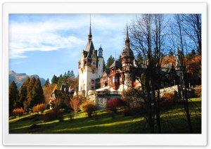Peles Castle In Fall HD Wide Wallpaper for 4K UHD Widescreen desktop & smartphone
